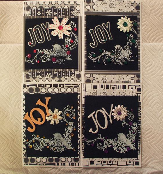 Bird Joy Christmas cards black white