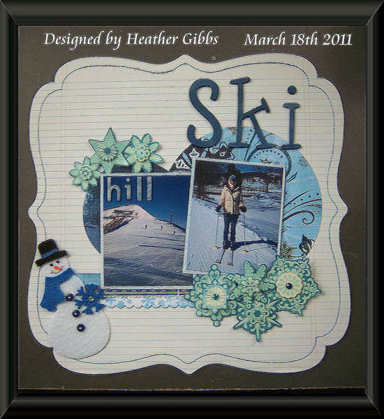 Skiing Hill Scrapbook Layout