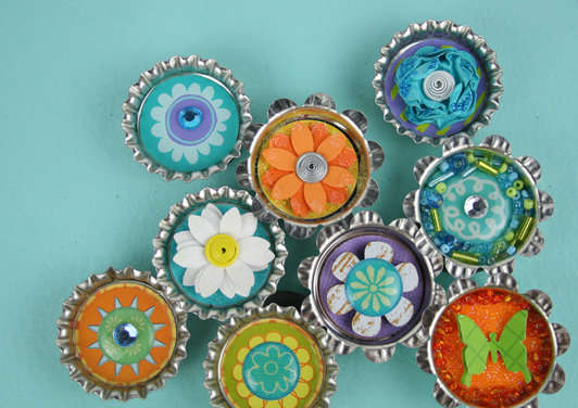 Bottle Cap Magnets using Fiskars Medium Lever Punches by Tania Willis