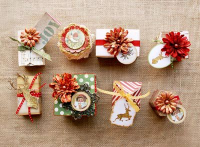 Holiday Gift Wrapping with Bo Bunny Christmas Collage and New Glitter Paste