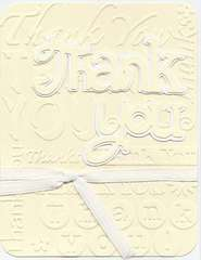 Thank You Card - White on Beige