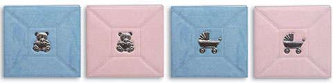 Baby Silver Tone 3-D Metal Appliqué Sewn Faux Suede Scrapbooks.