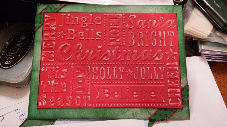 Christmas words embossed