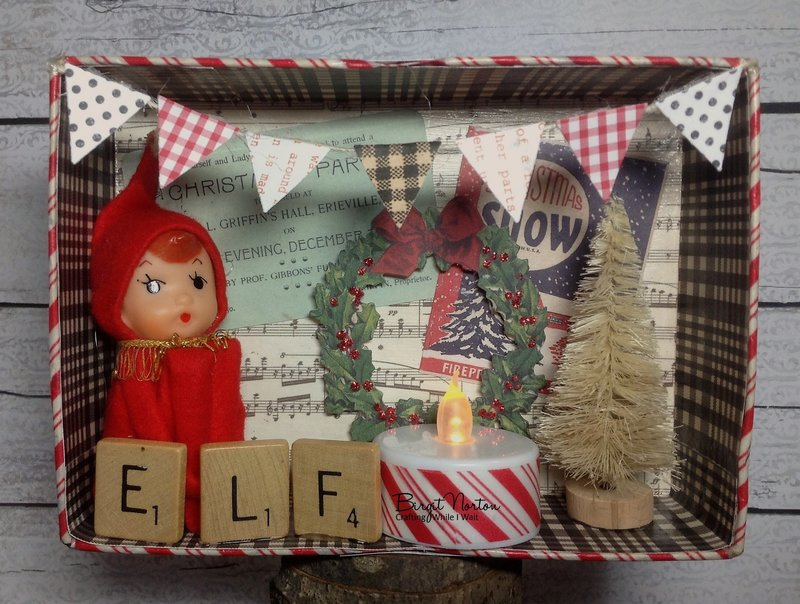 Jolly Ole' Elf Vintage Inspired Shadow Box