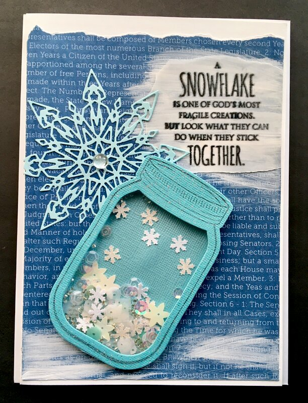 Mason jar filled with snowflake shakers