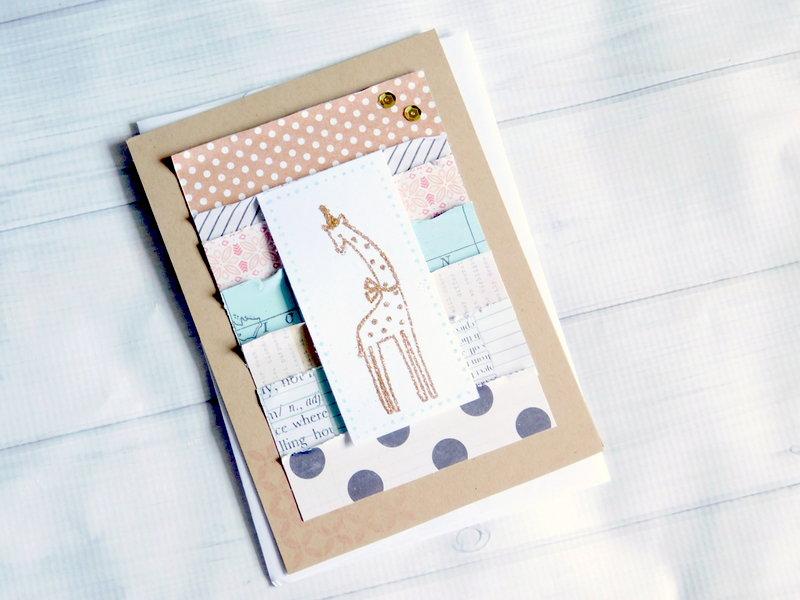 Baby Giraffe Glitter Card