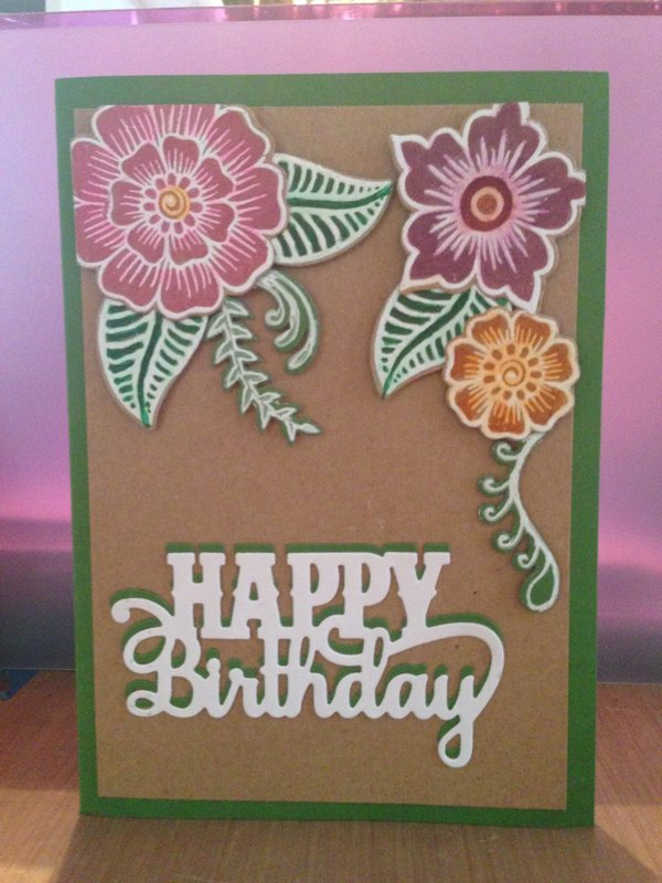 Henna Flowers on Birthday Card