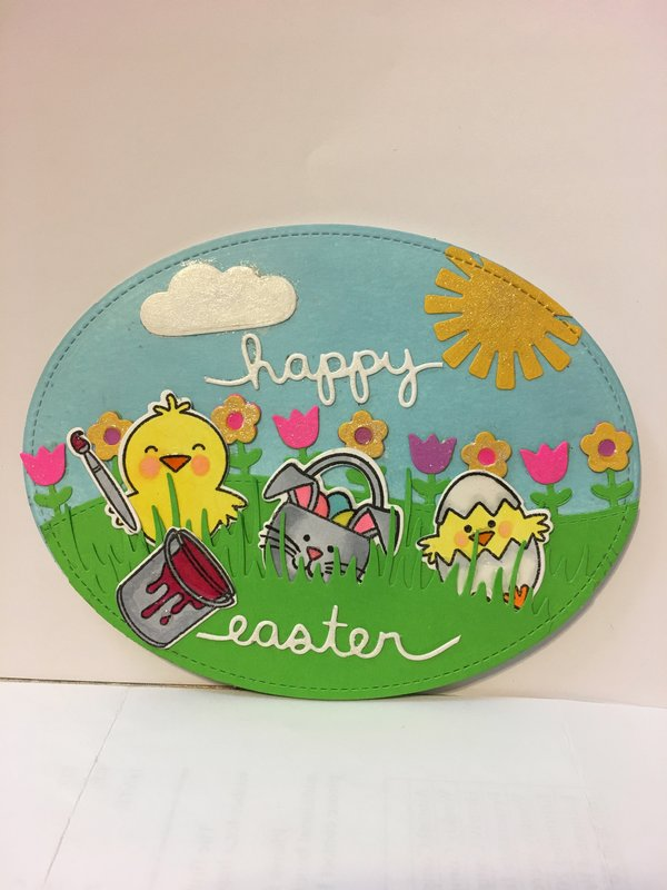 Egg-Shaped Happy Easter Card with Chick, Basket