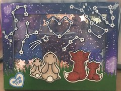 Shaker Card -- Mother & Baby Fox & Bunny Looking Up at Constellations
