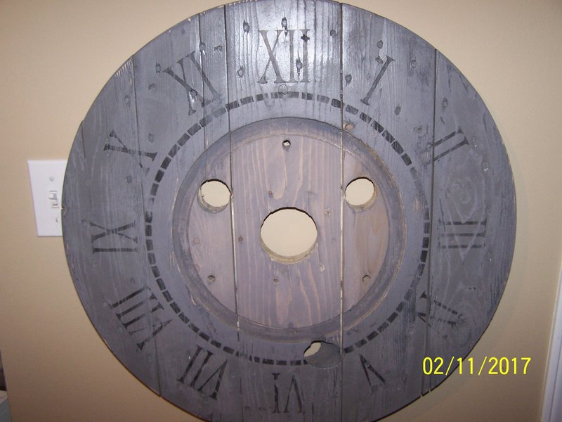 2ft. Distressed Grey Spool Clock.