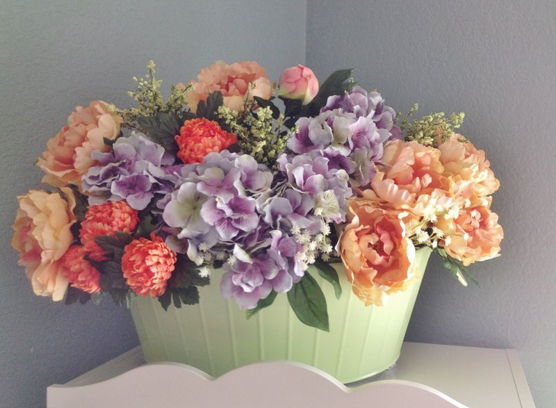 Green Bin Flower Arrangement
