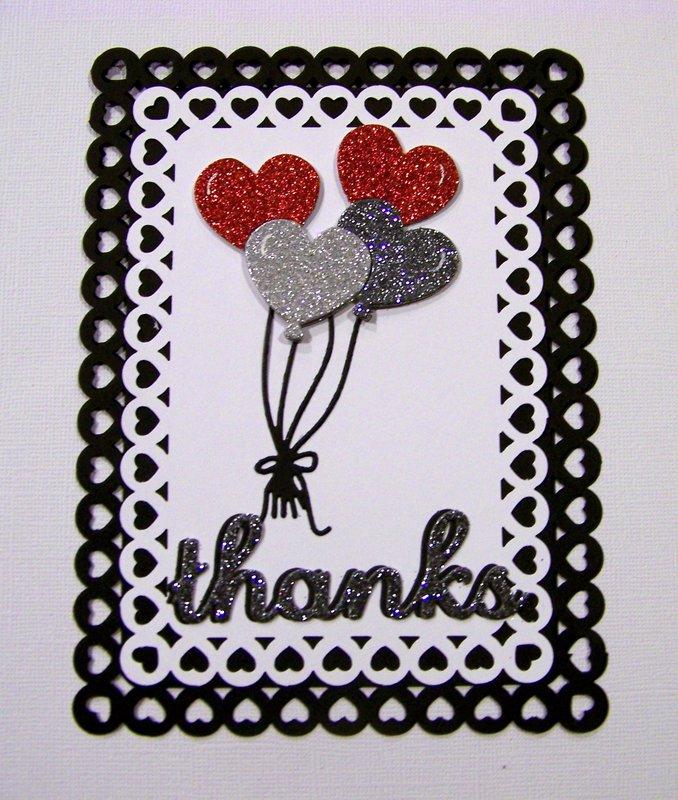 Heart balloons thank you card