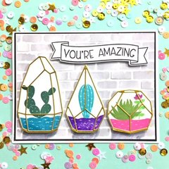 Pinkfresh Simply Succulents and Avery Elle Banner Bits