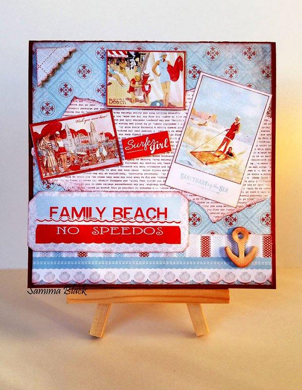 Beach Themed Card- Family Beach