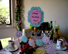 A birthday sign and birthday cake bunting