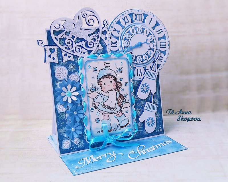 OOAK Magnolia Tilda Blue Christmas Easel Greeting card by Di Anna Shopova