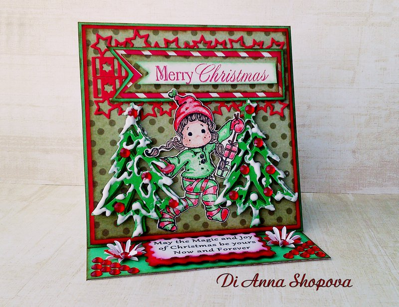 OOAK Magnolia Tilda Red & Green Christmas Easel Greeting card by Di Anna Shopova