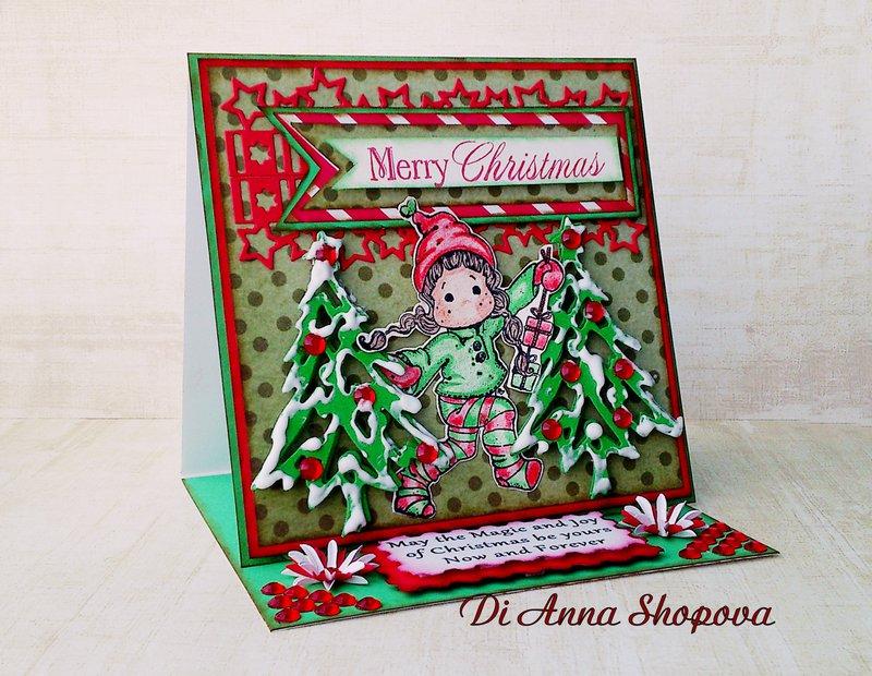 OOAK Magnolia Tilda Red & Green Christmas Easel Greeting card by Di Anna Shopova