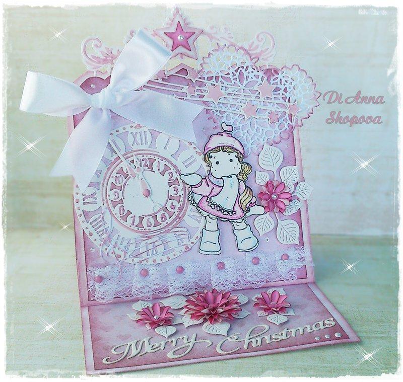 Magnolia Tilda Pink Easel Christmas Card by Di Anna Shopova