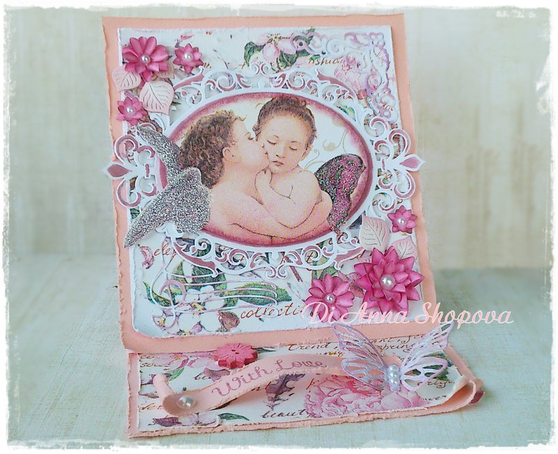 Shabby Angels Easel Card by Di Anna Shopova