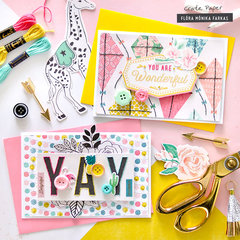Hand-stitched cards - Crate Paper DT