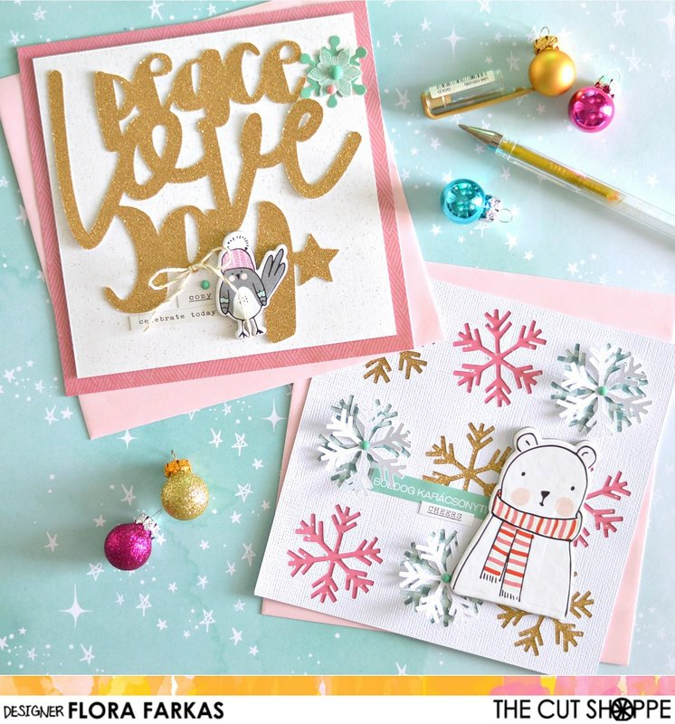 5 minutes Xmas cards with cut files