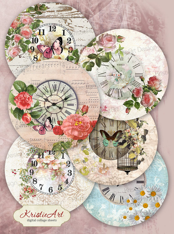 Digital collage sheet Clock in flowers