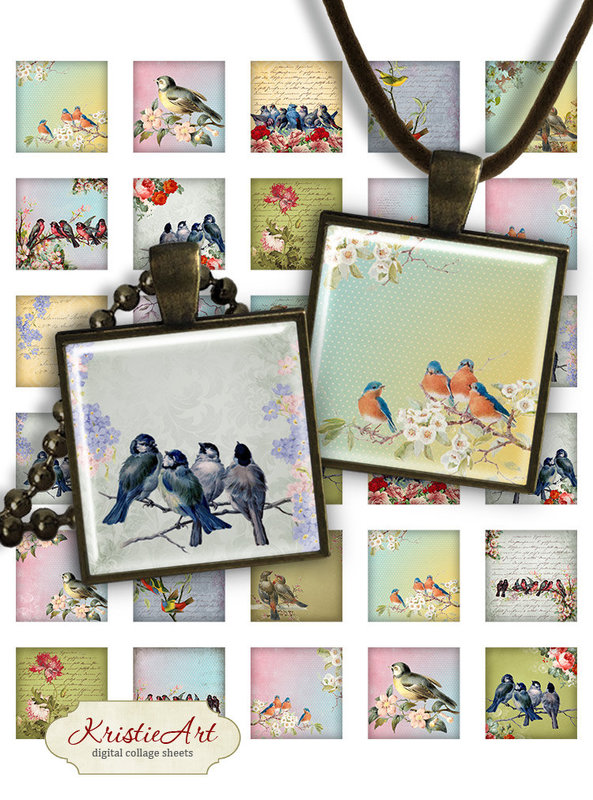 Birds - Digital Collage Sheet - 1 inc