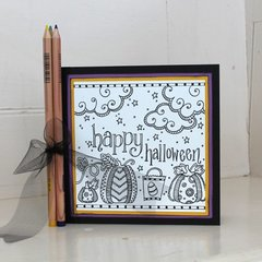 Happy Halloween Adult Coloring Card