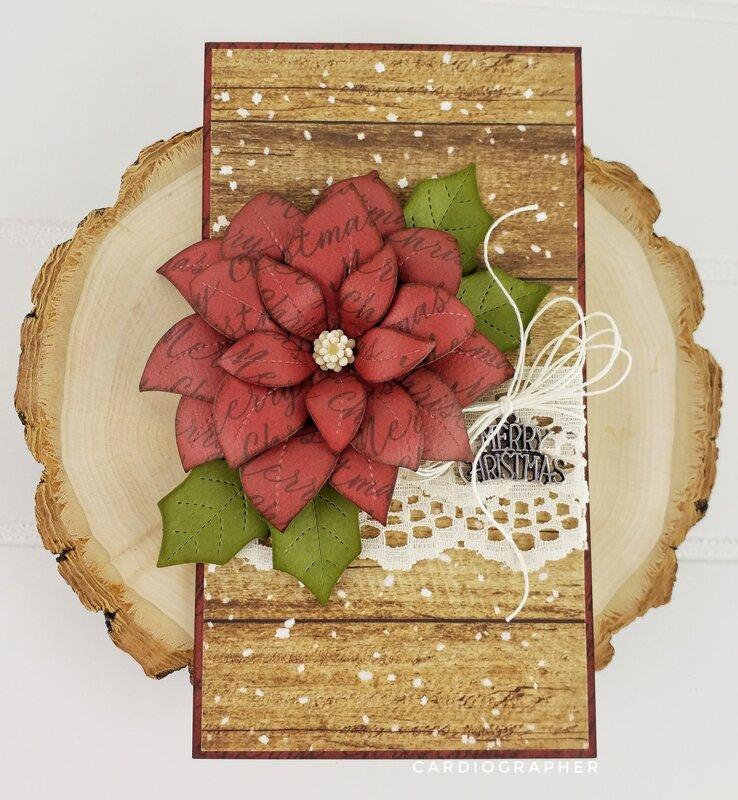 Burgundy stitched poinsettia