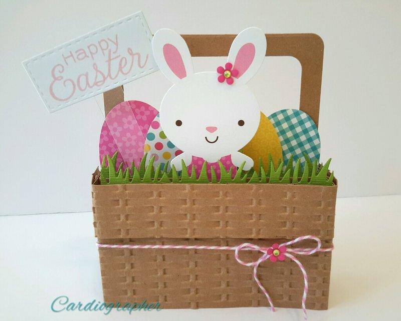 Easter basket pop up box card - bunny