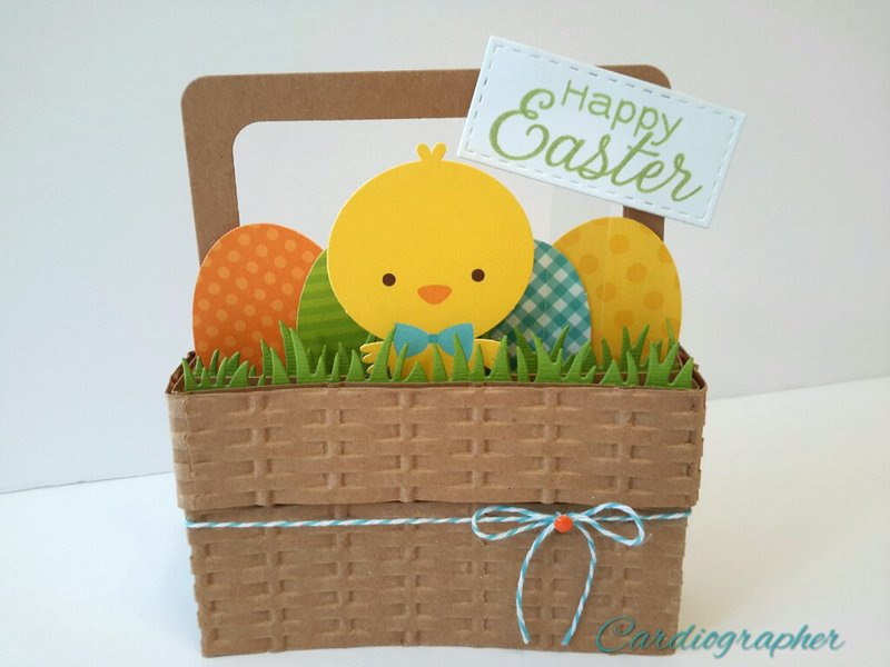Easter basket pop up box card - chick