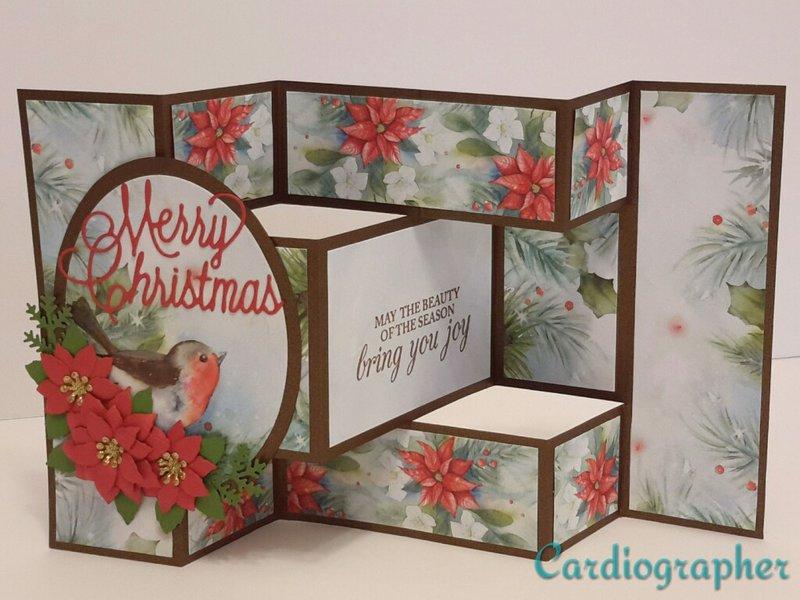 Tri-fold shutter -poinsettias and bird