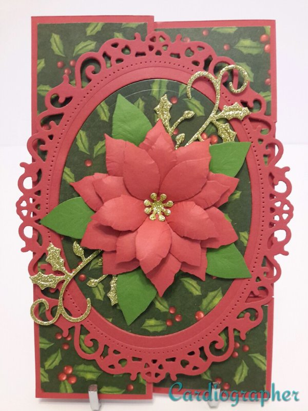 Tri-fold shutter card - holly and poinsettia