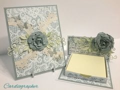 Lace card and note holder set