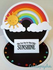 Sunshine and rainbows penny slider/easel card