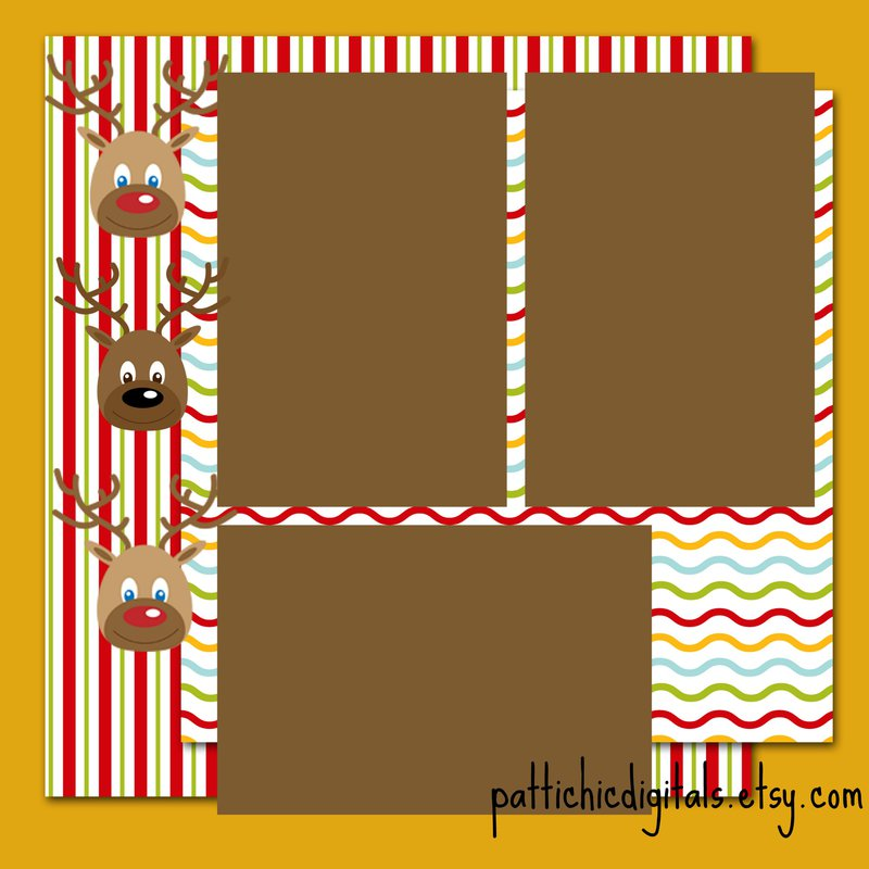 Cute Reindeer Christmas 12x12 Scrapbook Page Layout
