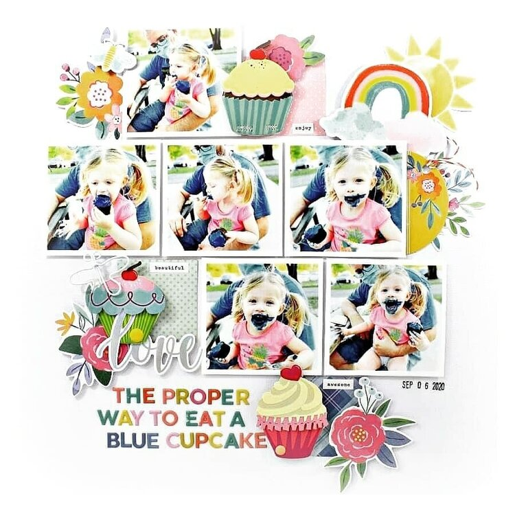 The proper way to eat a blue cupcake