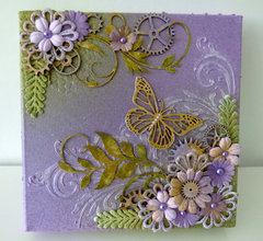 mixed media canvas butterfly & flowers