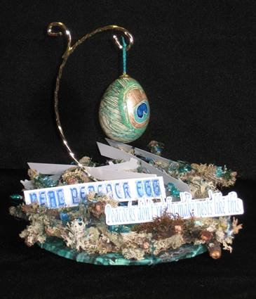 Peacock Pysanky--above a fake nest