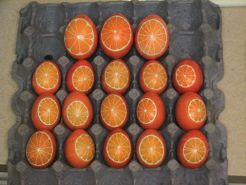 Orange Pysanky Eggs made to look like Oranges!