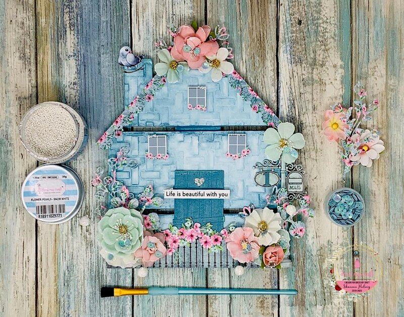 Mixed Media House featuring Dress My Craft's Magnolias Collection