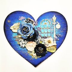 Georgia Blues Mixed Media Altered Heart