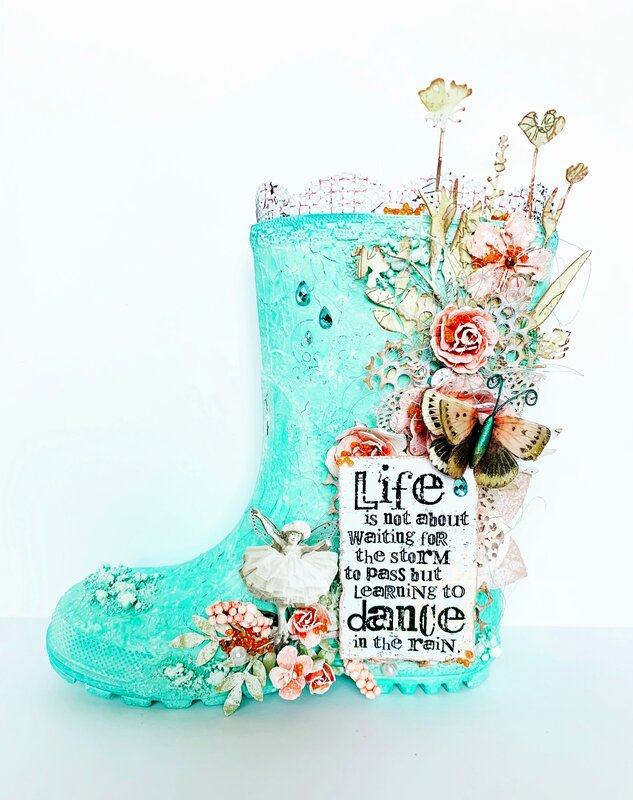 Altered Rain Boot for Lindy's Gang April 2019 Challenge