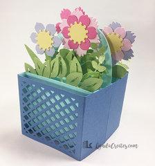 Flowers in a Basket Folding Box Card