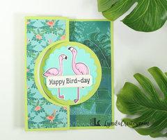 Happy Bird-day Flamingo Flip-it Card