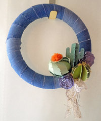 Recycled Denim Succulent Wreath