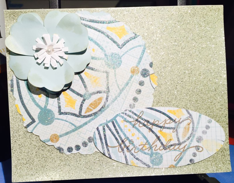 Glitter background floral birthday card front