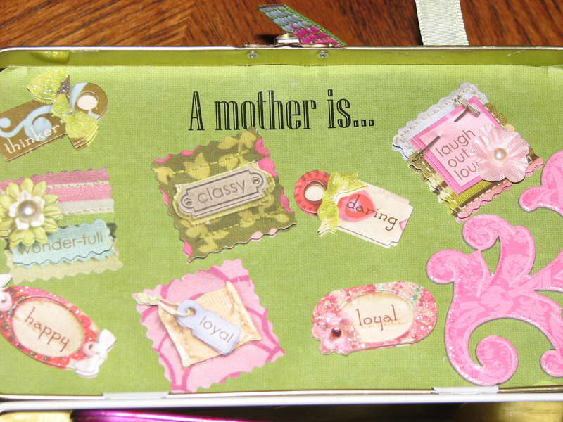 Inside of altered Mother's Day Tin