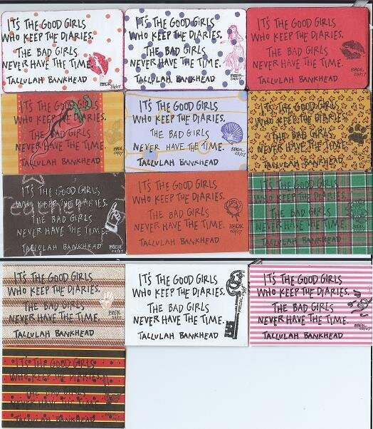 """""""I Enjoy Being A (Bad) Girl"""" Bettie Page ATCs (back)"""